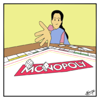 """A woman rolling dice on a board with """"Monopoly"""" written over it"""