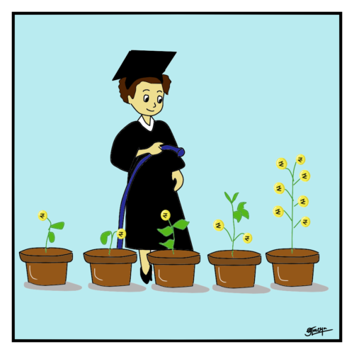 """A person watering a """"money"""" plant"""